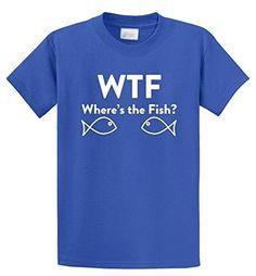Comical Shirt Men's WTF Where's Fish? Funny Fishing Shirt Mens T-Shirt Royal Blue M, Size: Medium