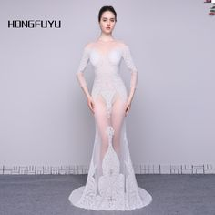 Real Photo Robe De Soiree Tulle Scoop Neck Long Sleeves Evening Dresses 2017 Beaded Sexy Mermaid Floor Length Evening Gown A033