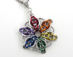 Rainbow chainmaille Celtic star pendant