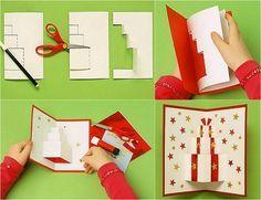 comment fabriquer une carte Pop-up Noël en papier blanc et rouge