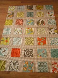 Ok, I gave a fancy name to my simple square quilt.  This is very easy to do,  but I wanted a different look, so I chose ginghum check fabri...