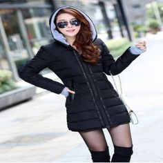 Hooded Zipper Long Padded Ladies Winter Jacket
