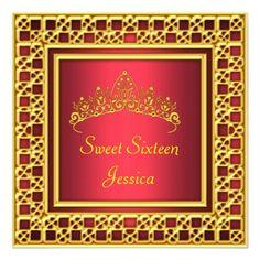 Sweet 16 Birthday Party Red Gold Silver Tiara Custom Invitation