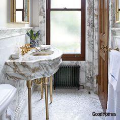 Victorian styled marble bathroom. We love!