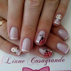 35 French Manicure designs: Check out the cute, quirky, and incredibly unique nail designs Fabulous Nails, Gorgeous Nails, Pretty Nails, Fingernail Designs, Toe Nail Designs, French Nails, French Polish, Ladybug Nails, Cute Nail Art