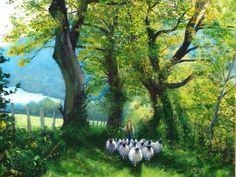 Title:The Loweswater Shepherd Medium: Oil Size: cms Peter Brook, 5 Year Anniversary, Northern England, Artist Portfolio, Lake District, Landscape, Paintings, Lakes, Sheep