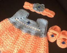 crochet baby dress set
