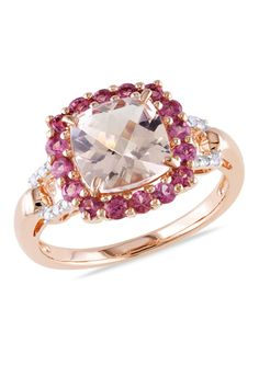 Zales 7.0mm Heart-Shaped Morganite, Pink Tourmaline and Diamond Accent Ring in Rose Rhodium Sterling Silver