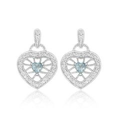 1 Carat Blue Topaz & Diamond Accent Filigree Earrings Set in Sterling Silver