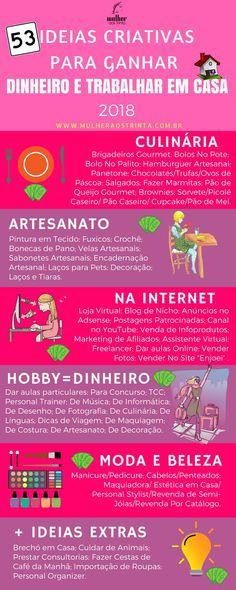 53 Ideias Criativas Para Ganhar Dinheiro e Trabalhar Em Casa - ESPECIAL (2018) Leia mais: http://mulheraostrinta.com.br/ideias-criativas-para-ganhar-dinheiro-e-trabalhar-em-casa/