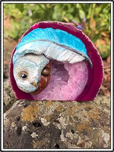 "polymer clay sculptures, sculpture artist,      Crystal Keeper ""Shanna"" (name meaning Small and Wise)     Handmade Item     Materials: Pink Agate Geode, Polymer Clay     Represents: Wisdom, Connection to Spirit, Heart Chakra Owl, Feather, totem"