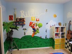 Mario Bros Room...I like that the bookshelf is painted with the wall