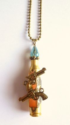 Bullet  Necklace  Blue Crystal  Gun Jewelry   by FunkyMaMaJewelry