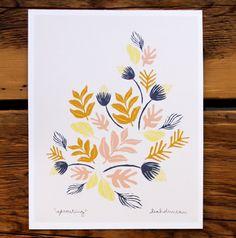 Il sagit dune impression de Leah « pousse » dessin en jaune pêche, brun, indigo et léger.    -8 « x 10 »  -imprimé avec des encres pigmentées pour 100