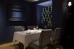"Trèsind, Dubai - dpa lighting consultants - ""Right Light, Right Place, Right Time"" ™ Restaurant Lighting, Restaurant Bar, Linear Lighting, Lighting Design, Low Lights, Wall Lights, Blue And White Wallpaper, Dubai Hotel, Appliques"