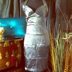 Halter Style Dress Charcoal Grey, Halter Neckline, Bandage Style, taffeta-like material, zip up back. Captivating! Wishes Upon Wishes Dresses
