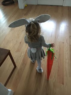 Bunny costume with carrot candy bag Halloween, toddler costume, home made, DIY, rabbit costume
