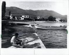 1972 Press Photo - Fisherman Mending Nets, Island of Thassos, Greece - Historic Images Thessaloniki, Press Photo, Old Photos, Greece, Boat, Island, Image, Old Pictures, Greece Country