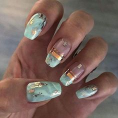 120 trending early spring nails art designs and colors 2019 page 39 - Marmor Nails - Nageldesign Marble Nail Art, Acrylic Nail Art, Teal Nail Art, Spring Nail Art, Spring Nails, Summer Nails, Fall Nails, Cute Nails, Pretty Nails