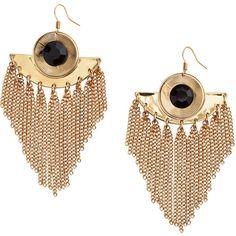 H&M Long earrings (35 PLN) ❤ liked on Polyvore featuring jewelry, earrings, gold, beaded jewelry, beaded earrings, plastic earrings, dangle earrings and chain earrings