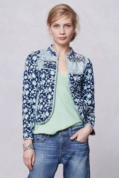 Blue Starflower Quilted Jacket from Leifsdottir's spring collection