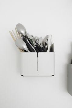 Varpoons: Aitio-hylly by Iittala - Details - practical Kitchen Items, Kitchen Decor, Kitchen Goods, Kitchen Stuff, Cutlery Storage, Kitchen Utilities, Minimal Kitchen, Scandinavian Kitchen, Herd