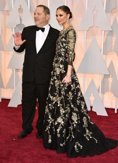 Harvey Weinstein and Georgina Chapman in Marchesa and Munnu jewels | 87th Academy Awards: Oscars 2015 red carpet