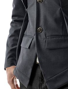TheLees (NJK7) Mens Slim Fit Double Collar 2 Button Jacket Charcoal US  XS(Tag size M) bf290c0f4