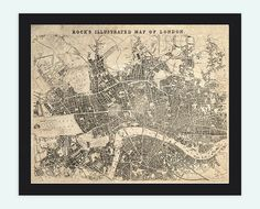Old Map of London  England United Kingdom 1845 by OldCityPrints, $28.00