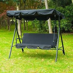 Buy 3 Person Outdoor Swing W/Canopy Seat Patio Hammock Furniture Bench Yard Loveseat at online store Garden Swing Seat, Garden Hammock, Patio Swing, Canopy Swing, Canopy Outdoor, Camping Picnic Table, Offset Patio Umbrella, Wall Seating, Outdoor Dining Set