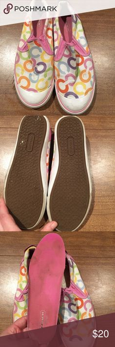 Coach Beale pastel color  slip on size 6.5 Coach Beale pastel color  slip on size 6.5.  These have been used but have life left in them. The insole is dirty but is removable and can be replaced.  Great shoes for the summer cute colors great feel and fit Coach Shoes Sneakers