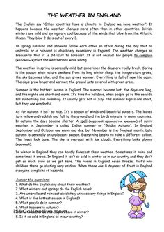 The Weather in England - English ESL Worksheets English Reading, English Writing, English Study, English Lessons, Learn English, Comprehension Exercises, Reading Comprehension Worksheets, English Grammar Worksheets, English Vocabulary