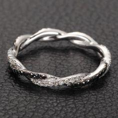 Infinity Love French Pave White/Black Diamonds 14K door EasyGem, $356.00