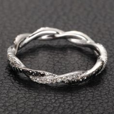 Infinity Love French Pave White/Black Diamonds 14K White Gold Wedding Ring on Etsy, $269.00