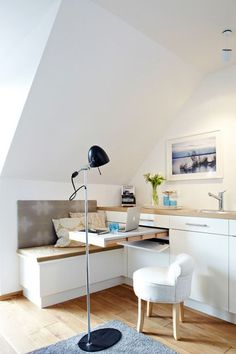 This Studio Kitchen Has a Smart and Surprising Hidden Feature with a small home office space built in — Small Space Living Small Space Living Room, Table For Small Space, Small Space Kitchen, Furniture For Small Spaces, Small Rooms, Small Apartments, Living Room Furniture, Multifunctional Furniture, Smart Furniture
