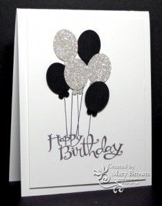 B&W card with silver balloons - Técnicas de Scrapbooking II