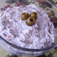 Olive Pecan Spread Recipe Appetizers with cream cheese, mayonnaise, green olives, chopped pecans Appetizer Dips, Appetizers For Party, Appetizer Recipes, Yummy Appetizers, Dip Recipes, Recipies, Cream Cheese Dips, Cream Cheese Spreads, Olive Dip