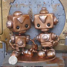 Happy Steampunk Robots by forgottenrobots on Etsy