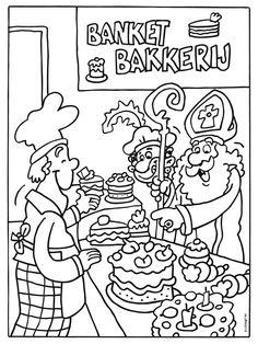 Kleurplaat Sinterklaas in de banketbakkerij - Kleurplaten.nl Crafts For Kids, Arts And Crafts, Christmas Colors, Kids Playing, Coloring Pages, Kindergarten, December, Comics, Children