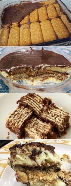 É SIMPLESMENTE MARAVILHOSO,FAÇA SUA FAMILA VAI AMAR❤️ VEJA AQUI>>>Em uma panela, misture o chocolate em pó, o açúcar e o leite. Leve ao fogo e deixe ferver. Deixe esfriar. #receita#bolo#torta#doce#sobremesa#aniversario#pudim#mousse#pave#Cheesecake#chocolate#confeitaria Delicious Desserts, Dessert Recipes, Yummy Food, Portuguese Desserts, Icebox Cake, How Sweet Eats, I Love Food, Sweet Recipes, My Recipes