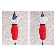 Elegant Bowknot Lace Embellished Empire Line Dress Red via Polyvore