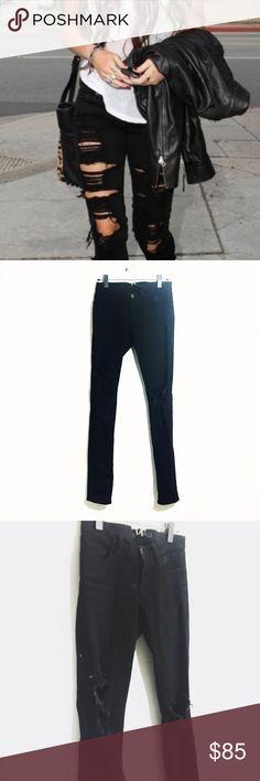 J BRAND Torn Jett black ripped open knee skinnies Super cute rocker chic distressed black skinny jeans, left knee torn open. Perfect condition. J Brand Jeans Skinny