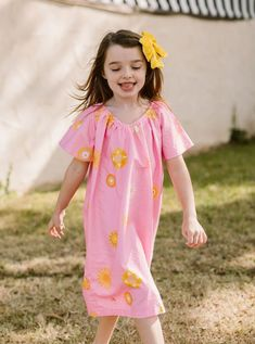 Girl's Flutter Sleeve Cotton Nightgown in Sunny Side