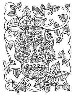 COLORING BOOK Full of SUGAR SkULLs adult day of the dead detailed advanced colouring by ChubbyMermaid