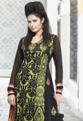 Black and light green pure georgette anarkali kameez with matching shantoon churidar and light orange chiffon dupatta designed with resham, zari, gota and patch border. The unstitched kameez can be customized upto 42 inches. Slight variation in color and patch patti pattern is possible.