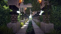 Skyisland Hall by soongpa - Minecraft World Art Minecraft, Minecraft Building Guide, Minecraft Garden, Minecraft Structures, Minecraft Castle, Minecraft Medieval, Minecraft Plans, Amazing Minecraft, Minecraft Decorations