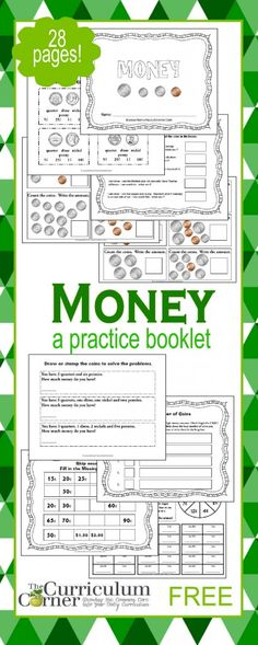 FREE printable Money booklet | 28 pages | The Curriculum Corner