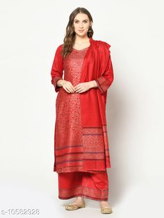Suits & Dress Materials Safaa Acro Wool Woven Zari Suit & Dupatta (Unstiched) For Winter Top Fabric: Wool + Top Length: 3.5 Meters Bottom Fabric: Wool + Bottom Length: 3 Meters Dupatta Fabric: Wool + Dupatta Length: 2 Meters Lining Fabric: No Lining Type: Un Stitched Pattern: Woven Design Multipack: Single Country of Origin: India Sizes Available: Un Stitched   Catalog Rating: ★4.3 (217)  Catalog Name: Jivika Refined Salwar Suits & Dress Materials (Punjabi Winter Design) CatalogID_1936890 C74-SC1002 Code: 9821-10582928-1263