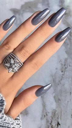 34 Luscious Nude Nail Art Designs In 2019 - nail designs Gray Nails, Nude Nails, Pink Nails, Coffin Nails, Perfect Nails, Gorgeous Nails, Disney Nails, Cute Acrylic Nails, Rhinestone Nails