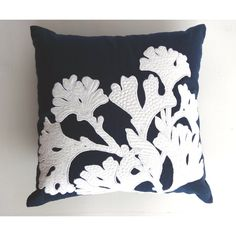 Navy Blue coral pillow cover- 20 inch - beach pillow , beach decor,... ($36) ❤ liked on Polyvore featuring home, home decor, throw pillows, beach home decor, coral throw pillows, nautical throw pillows, navy blue toss pillows and nautical toss pillows